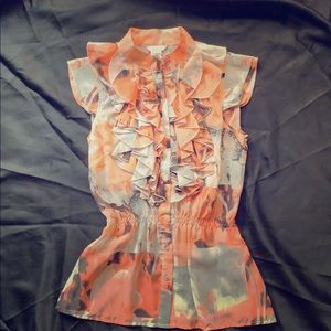 Coral and grey ruffled blouse